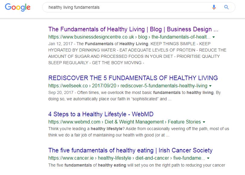 healthy living fundamentals